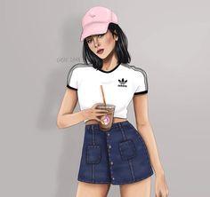 Sarra Art, Girly M, Girly Drawings, Drawings Of Friends, Cute Girl Wallpaper, Girly Pictures, Digital Art Girl, Illustration Girl, Tumblr Girls