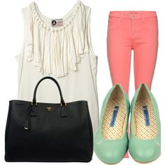 Pink pants and mint shoes!