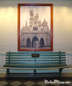 """Here's a piece of Disney history/trivia """"This ordinary wooden bench, has an extraordinary history. According to Walt Disney, the idea for a Disney-themed amusement park came to him while sitting on a park bench. He thought about creating a new kind of amusement park, while he watched his daughters ride the Griffith Park Merry-Go-Round. The park bench that Walt Disney sat on, while he imagined what would become Disneyland, is currently on display in the Opera House lobby."""""""