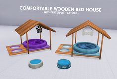 "coupurelectrique: "" FUNCTIONAL COMFORTABLE WOODEN BED HOUSE - WITH WATERPOT TEXTURE - > CHARACTERISTICS: - NEW MESH - Credits [X] - Only Small Pets - Category: Animals - For: Cats and Dogs - All..."