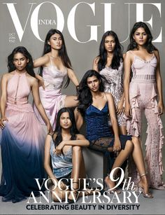 Vogue India's October cover focusing on beauty in diversity, features six models of different complexions and regional identities.
