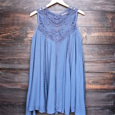 blue boho crochet lace dress