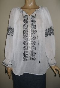Superb Romanian peasant blouse hand embroidered with white silk thread and black cotton thread on the finest and sheer gauze cotton, Available at www.greatblouses.com