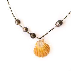 Sunrise shell and Tahitian pearls beaded Argentium wire necklace #sunny #mermaid #mauihawaii #surfergirl #pearls  @justicejulyphotography