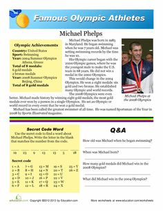 worksheets michael phelps