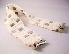 Seadbeady, White Silver Square Stitch Bracelet with Tila Beads by Seadbeady on Etsy https://www.etsy.com/listing/501778209/seadbeady-white-silver-square-stitch