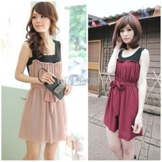 $7.60 New Korean fashion Cotton+ Chiffon sleeveless slim Mini dress With Belt