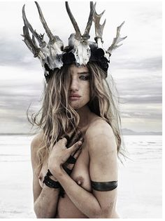 Tundra Goddess, Antler Head Dress, Nomadic Feel, Natural Beauty