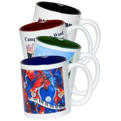 "Photo Mug...Two tone personalized photo mugs. Product dimensions: 4 1/2"" height and 3 1/4"" rim. Great for home use and offices to put your favorite tea or coffee! Perfect promotional item, gift and give away!"