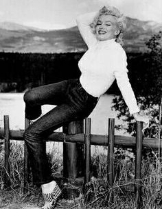 """Marilyn on location in Canada for the filming of """"River of No Return"""". Photo by John Vachon, 1953."""