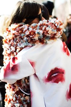 3D Floral Effect and smothered lip print