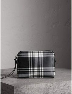 09022a140ca5 Burberry Large Laminated Tartan and Check Wool Blend Pouch Burberry Plaid