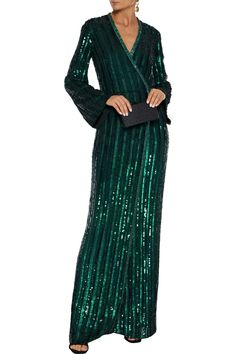 Emerald Embellished chiffon wrap gown | Sale up to 70% off | THE OUTNET | JENNY PACKHAM | THE OUTNET Evening Dresses, Summer Dresses, Popular Dresses, Jenny Packham, Designer Gowns, Fashion Outlet, Jacket Dress, Dress Outfits, Luxury Fashion