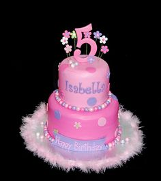 pink and purple very girly 5th birthday cake | Flickr - Photo Sharing!
