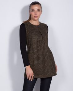 Дамска рокля/туника с А-силует - Kity #Efrea #Ефреа #online #онлайн #пазаруване #дрехи #туника #А-силует #кафява
