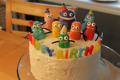 Storybots cake for Asher's first birthday - Storybots are made of homemade marshmallow fondant