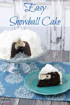 Easy Snowball Cake Recipe with a delicious cream cheese center and a Cool Whip Coconut Frosting! Easy one bowl dessert! Cake Icing, Cupcake Cakes, Cupcakes, Bundt Cakes, Cake Cookies, Cake Mix Recipes, Dessert Recipes, Snowball Cake Recipe, Easy Desserts