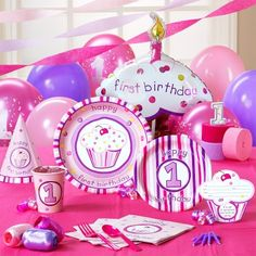 Girl's Lil' Cupcake 1st Birthday Classic Pack for 8; Includes 8 invitations, dinner plates, dessert plates, cups, forks, spoons, napkins (50 pack), solid-color tablecover and cake candles.