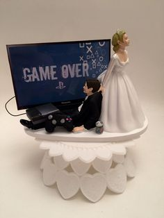 GAME OVER Bride and Groom PS4 Funny Wedding Cake Topper Video Game Groom's Cake