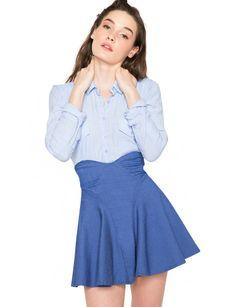 4a2f1e6638 Pixie market Denim Flare Skirt - Cute Summer Skirt - Trumpet Skirt -  44  Trumpet Skirt