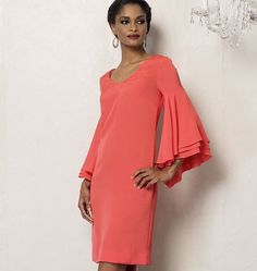 Semi-fitted dress has neck/sleeve variations, and back zipper. B: sleeve flounces with narrow hem, wrong side may show. Vogue® Patterns V8945