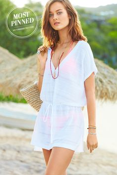 A drawstring waist and flattering v-neck make this cover-up a sunny-day favorite. / Tie-Waist Cover-Up