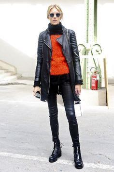 Anja Rubik sick ass leather jacket