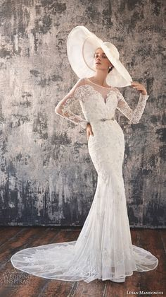 lusan mandongus 2016 wedding dresses long lace sleeves sheer bateau neckline deep v neck embroidered bodice beautiful sheath mermaid gown murzim
