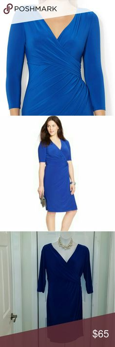 💜💙❤ Host Pic, RL Blue Dress Bright blue dress from Ralph Lauren  Mock wrap style  Size 16W 40 inches long 23 inches across armpit to armpit lying flat, has additional stretch  95% polyester 5% elastane, (spandex) Flattering fit with ruching to hide your tummy flaws  Perfect in the office or out to dinner  Get noticed  Only worn once Ralph Lauren Dresses