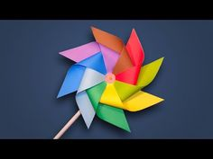 Paper Windmill - How to Make a Rainbow Color Paper (Pinwheel) for Kids DIY Tutorial - YouTube
