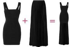 diy lengthen black bandage dress to gown