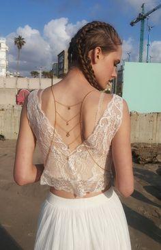 Cara body chain-Boho body jewelry-Gold back by BOHOREINA on Etsy