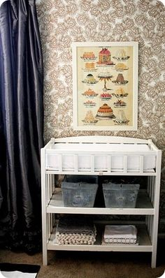 audrey's nursery – part two from jonesdesigncompany.com   Gentle, antique nursery with calming colors and splashes of gold.  #grey #stripes #gold
