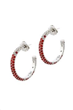 Classic Hoop Earrings from The Manhattan Collection: hand made 925 sterling silver plated with silver rhodium, hand-set with red sapphires and white topaz.