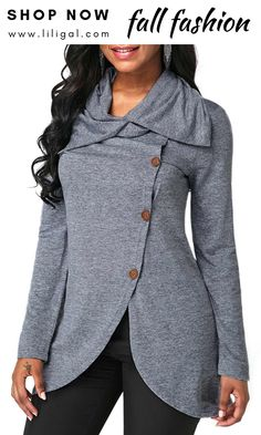 Long Sleeve Grey Button Detail Sweatshirt Women Clothes For Cheap, Collections, Styles Perfectly Fit You, Never Miss It! Grey Sweatshirt, Sweat Shirt, Mode Outfits, Fashion Outfits, Womens Fashion, Trendy Tops For Women, Outerwear Women, Autumn Fashion, Long Sleeve