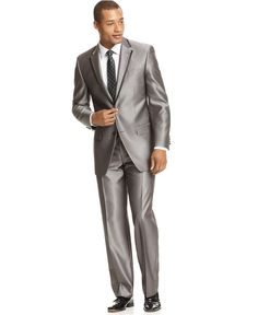 Men's Sean John Clothing Sean John Suit Grey Sharkskin