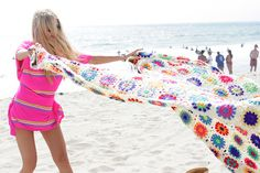digging that rainbow crochet beach blanket!