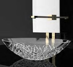 Luxure ICE ROT01 Round Vessel Sink in Hand Cut Crystal | Modo Bath