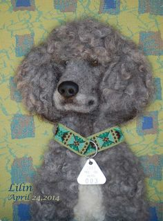 Standard Poodle Custom Dog Portrait needle felted by FurryMemories