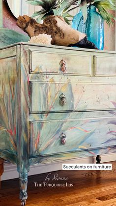 Chalk Paint Furniture, Hand Painted Furniture, Refurbished Furniture, Unique Furniture, Furniture Makeover, Furniture Refinishing, Turquoise Painted Furniture, Colorful Dresser, Decoupage