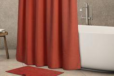 Αδιάβροχη Κουρτίνα FIELDCREST Linen-Look Μονόχρωμη (Xρώμα:CAYENNE)