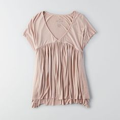 AEO Soft & Sexy Babydoll Tee ($18) ❤ liked on Polyvore featuring tops, t-shirts, sexy tee, babydoll tee, v neck tee, sexy t shirts and v-neck top