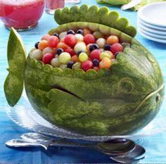 #Watermelon bowl/basket carving. Fish. Whale. Art. Inspiration. Fruit Salad. #Summer