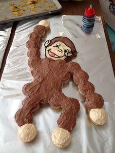 Curious George cupcake cake