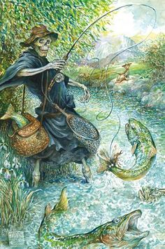 'He had never seen fly-fishing like this before.'Being asked to illustrate Discworld was a brilliant opportunity. The works are iconic, the world is visually rich, but this also made it more daunting. The possibility of stepping on someone else's vision of that world, which is made so real and concrete in the books, is frighteningly great. It was truly a daunting challenge with more responsibilities than any other illustration commission I have had, but what fun!