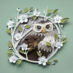 Owl: A World of Paper: Artist Helen Musselwhite (quiling paper art owl) Kirigami, Owl Crafts, Paper Crafts, Paper Cutting, Paper Owls, 3d Paper, Diy Papier, Paper Illustration, Paper Artwork