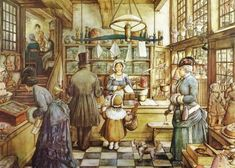 Jigsaw Puzzle - 1000 Pieces - Anton Pieck : The Bakery Shop 1000 pieces Jigsaw Puzzles - Retro and Nostalgia - Jigsaw and Anton Pieck, Dutch Painters, Dutch Artists, 3d Prints, Cross Stitch Patterns, Fairy Tales, Illustration Art, Vintage Illustrations, Drawings