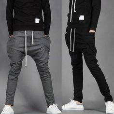 New Casual Men's Outdoor Skinny Sweatpants Trousers Sport Harem Pants Mens Joggers Pantalones Hombre Calca Masculina 2 Color Y19
