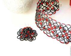 """Купить Комплект """"Грация"""" - ярко-красный, серебро, серый, Новый Год, украшение, комплект"""