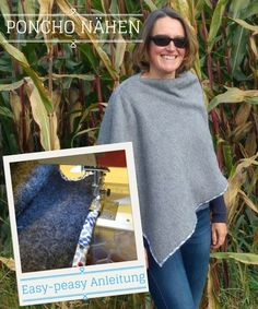 Diy Poncho, Cover Up, Textiles, Sewing, Sweatshirts, Sweaters, How To Make, Winter, Dresses